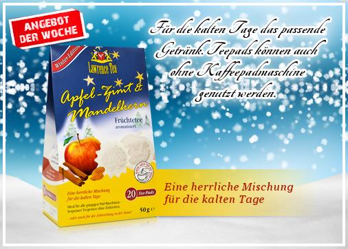 Angebot der Woche ist Lawrence Tea Apfel-Zimt & Mandelkern Teepads